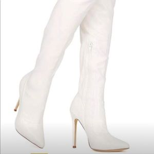 White over-knee boots